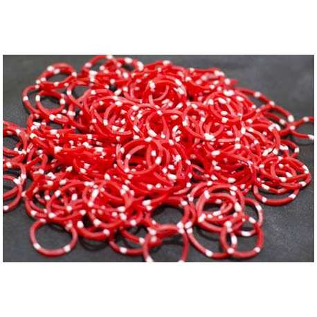 Rubber Bands Red White Dot