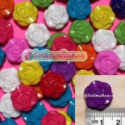 Medium Rose Plastic Beads