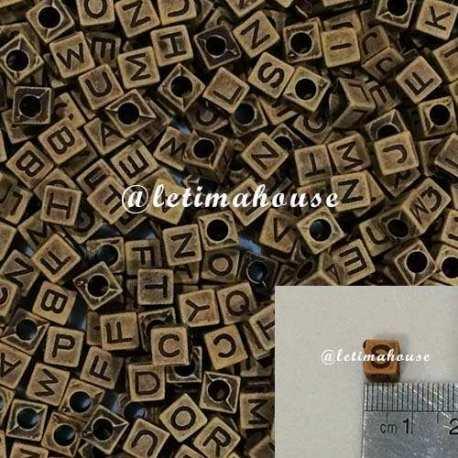 Medium Wood color letters Plastic Beads