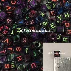 Square Black Neon color letters Plastic Beads